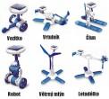 Solární stavebnice SolarBot modrý Robot SolarKit 6 v 1